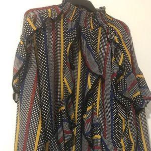 2019 Ashley Stewart mixed print blouse.